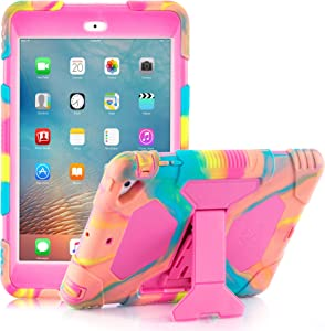 iPad Mini Case,iPad Mini 2 Case, iPad Mini 3 Kid Case Shockproof Drop Resistance for iPad Mini 321 (Ice Cream/Rose)