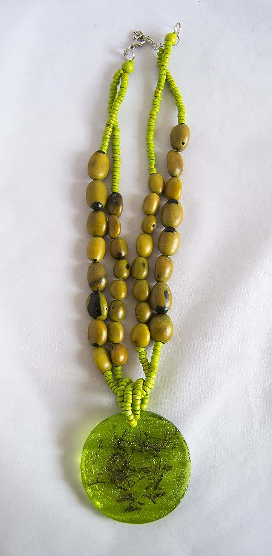 Collar largo con piedras marrones y verde pistacho 32cm. Envío GRATIS