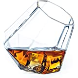 Dragon Glassware Diamond Whiskey Glasses | 10 oz Tilted Diamond Whiskey Tumblers with Self-Aerating Design | Whisky, Wine, Bourbon, Scotch, and Alcohol | Set of 2 | Dish Washer Safe, Gift Boxed