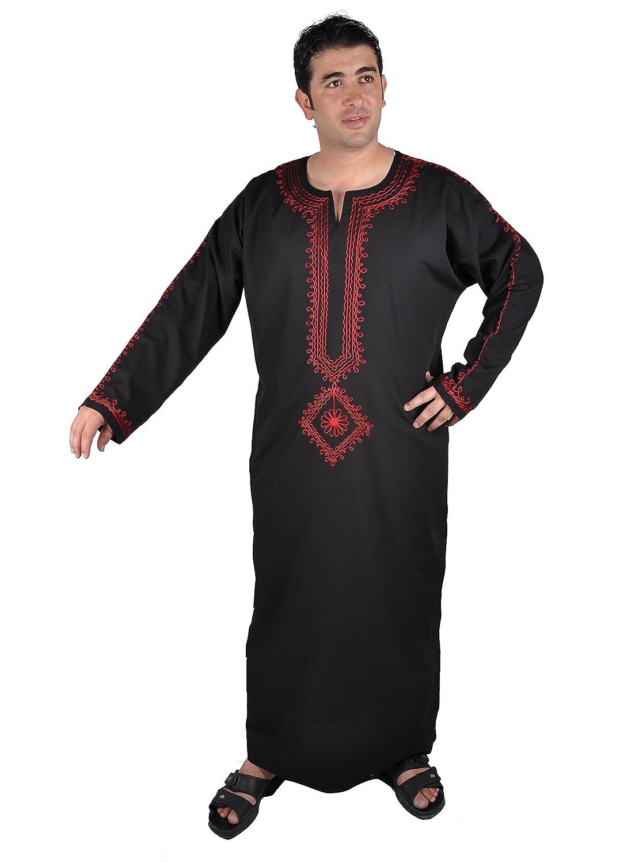 Egypt Bazar Moderner Herren-Kaftan Hauskleid, Farbe: schwarz/rot KAM00308