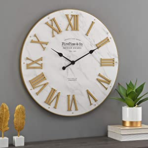 FirsTime & Co. Gold Emmett Shiplap Clock, American Designed, Gold, 27 x 2 x 27 inches (31206)