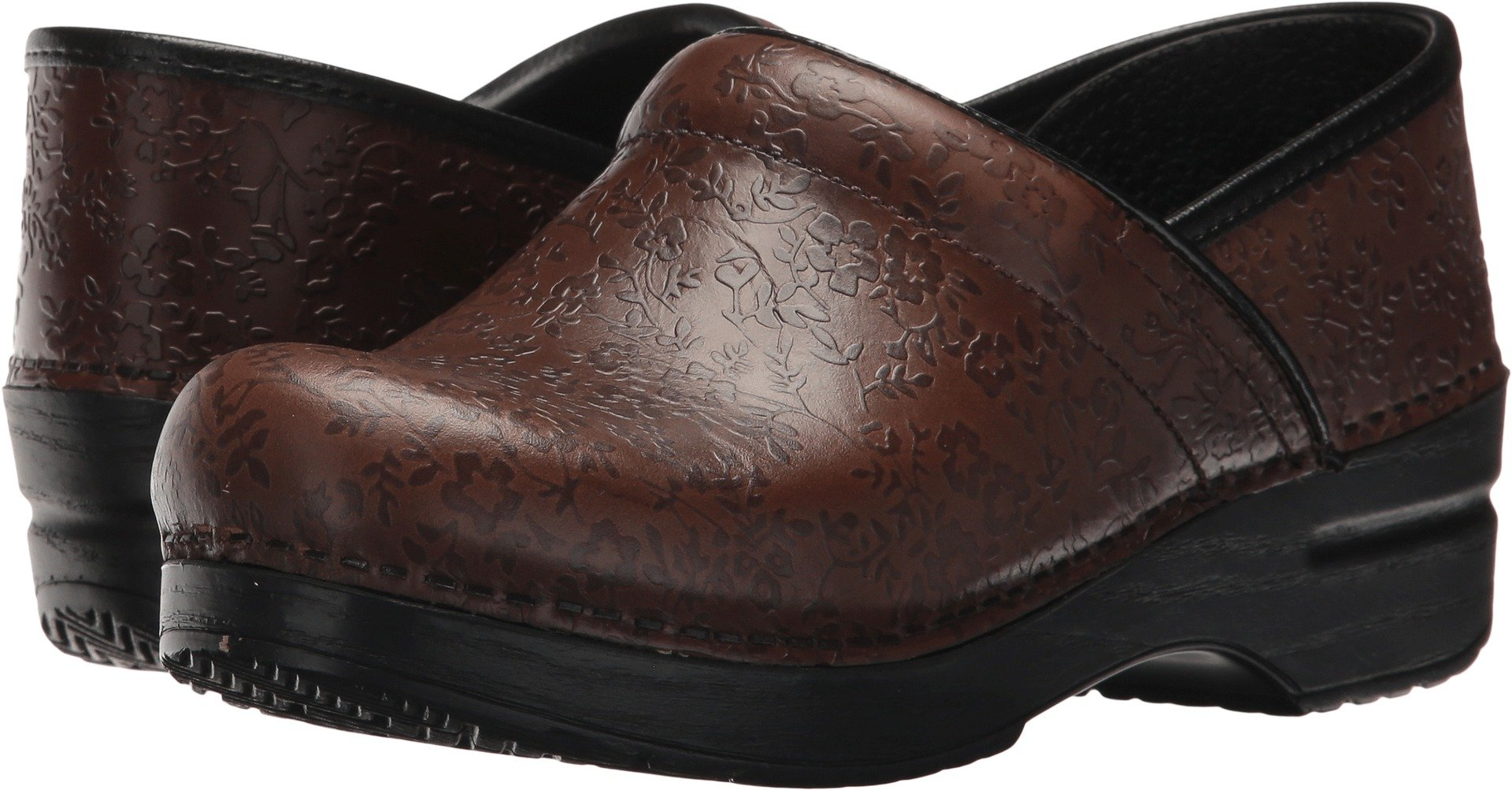 Dansko New Professional Brown Floral Embossed 41/10.5-11 Womens Shoes