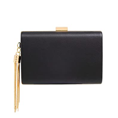 6dd18c195d4c7 Leather Evening Clutch Handbag Clutch Purse Prom for Cocktail Wedding Women  Black