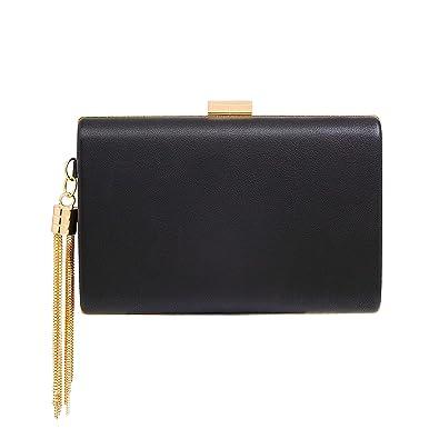 848e23f76af7bd Leather Evening Clutch Handbag Clutch Purse Prom for Cocktail Wedding Women  Black