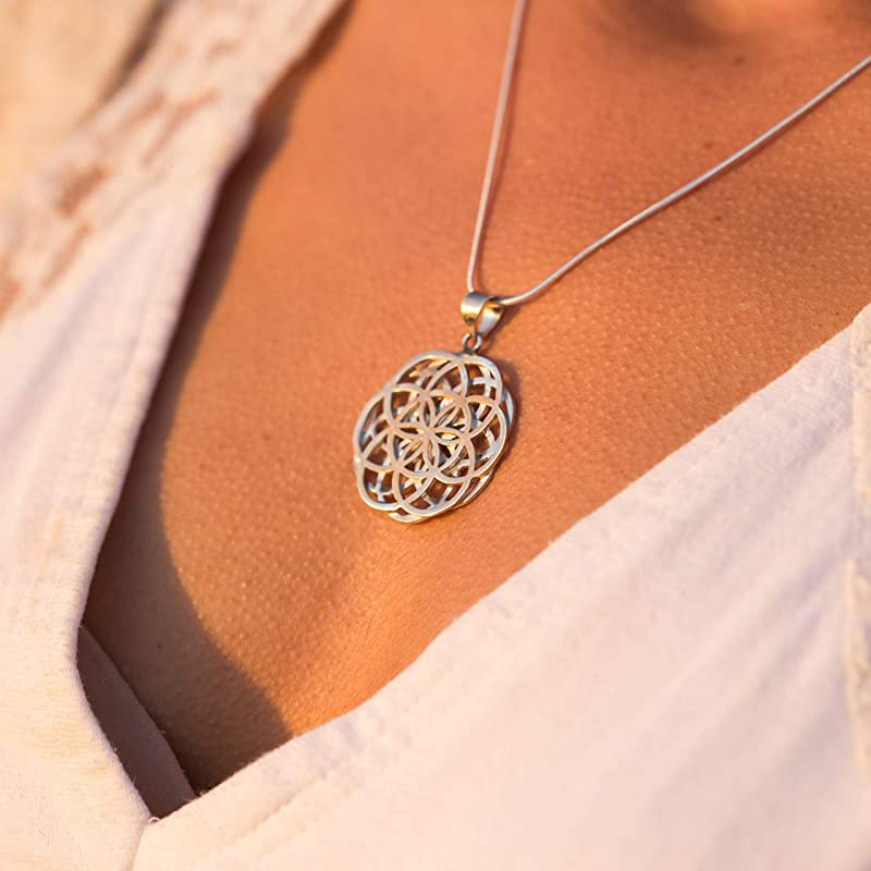 Silver Flower Of Life Necklace Silver Symbol Mandala Necklace Sun Necklace Sun Pendant Yoga Pendant Silver Seed of Life Necklace