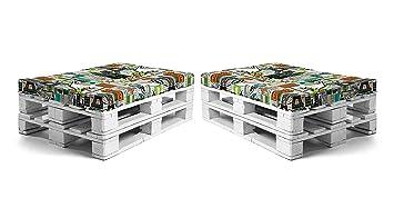 SUENOSZZZ - Pack 2 colchonetas para Sofas de Palet. Cojin Relleno con Espuma. Loneta HP City | Cojines para Chill out, Interior y Exterior, Jardin | ...