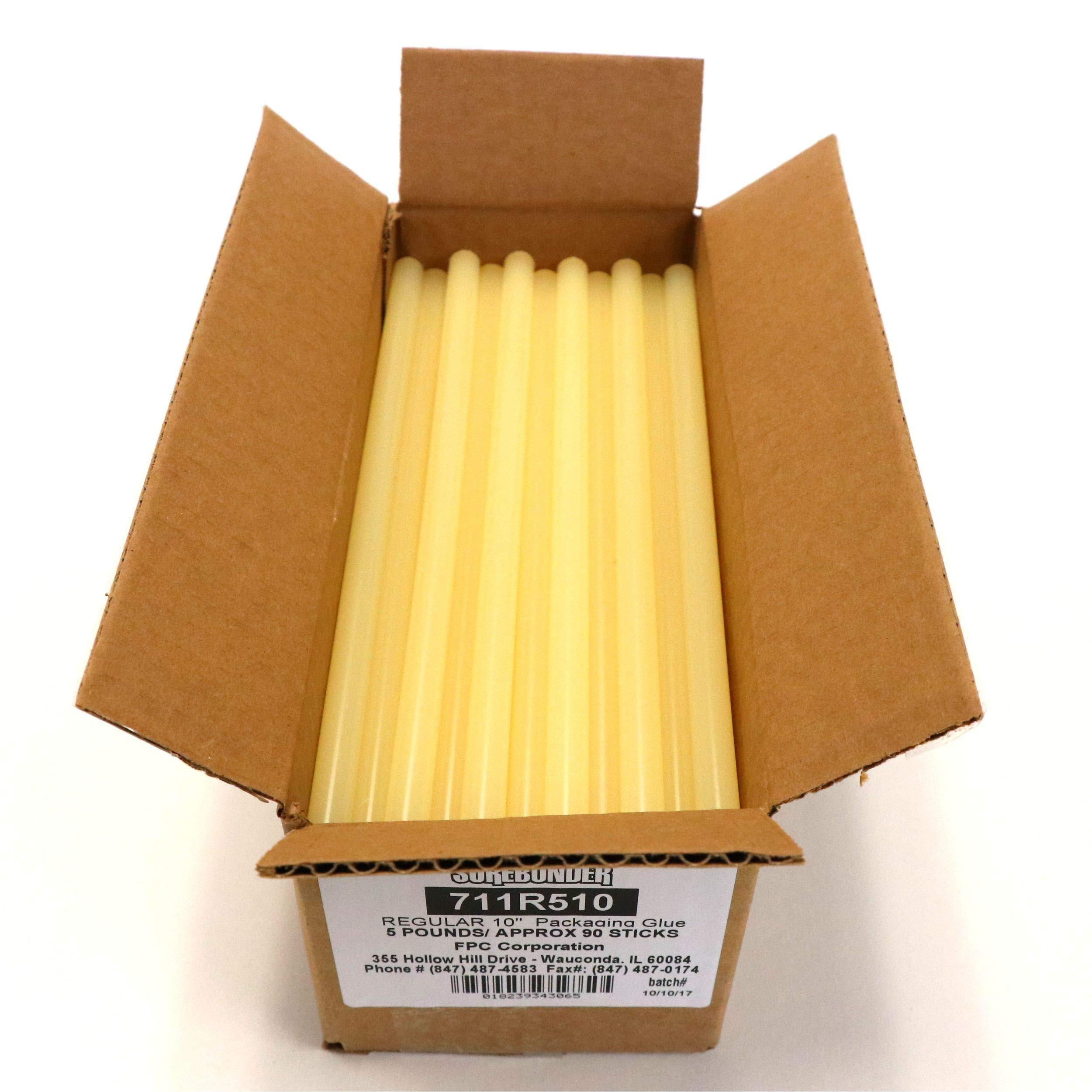 Surebonder 711R510 Fast Set Packaging Standard Glue Sticks, Made in the USA, 7/16'' x 10'' Length, 5 lb. Box, Light Amber, 90 Sticks (Pack of 90)