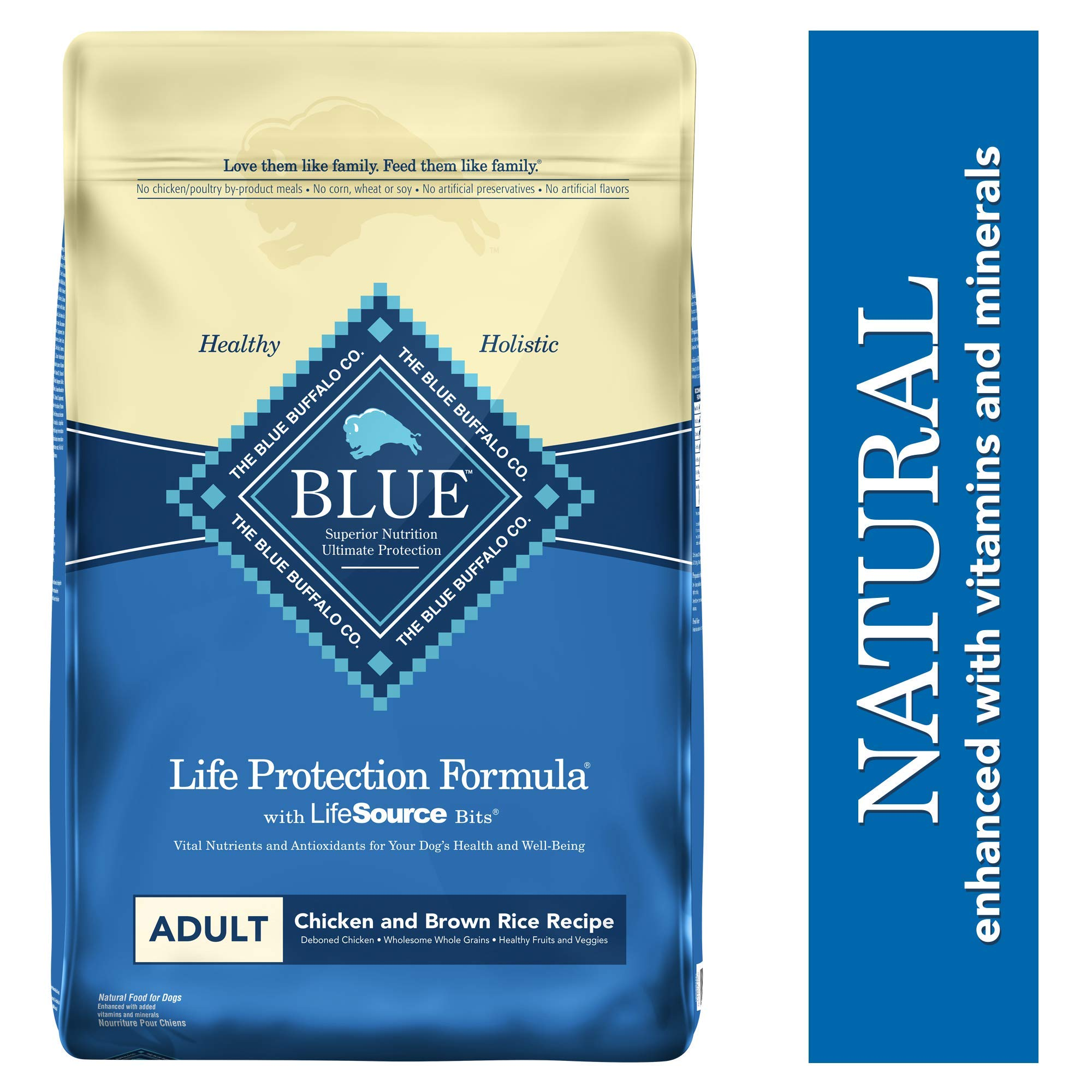 Blue Buffalo Life Protection Formula Adult Dog Food - Natural Dry Dog Food for Adult Dogs - Chicken and Brown Rice - 30 lb. Bag by Blue Buffalo