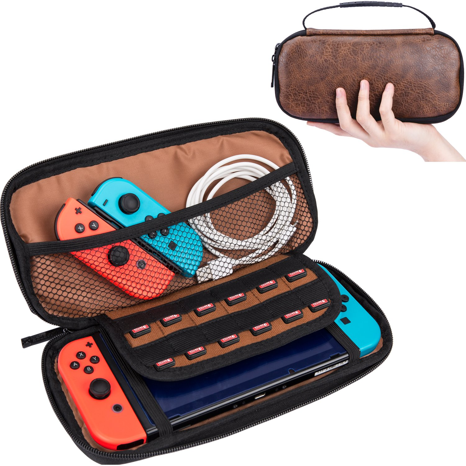 NiceEbag Leather Nintendo Switch Case Deluxe Travel Console Protective Sleeve Rainproof Electronic Accessories Storage Bag Vintage Game Carrying Case With 12 Build-In Game Card Holders