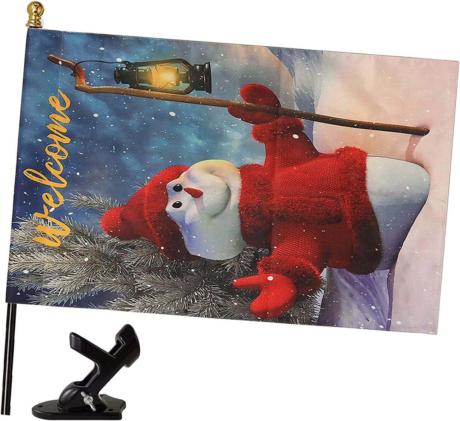 MIYA Merry Christmas Flag with Black 4FT Flag Pole and Bracket - Vertical Christmas Garden Flag Double Sized - Christmas Red Snowman Flag for Yard Outdoor Decoration 28 x 45 Inch