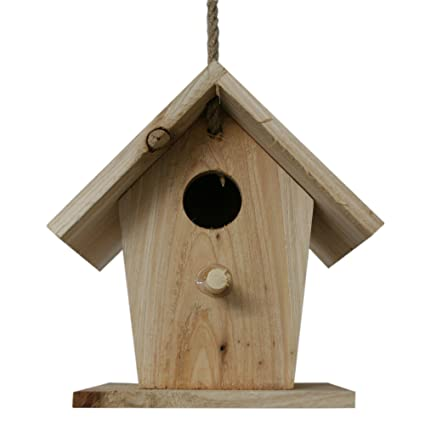 Pajarera Nido para pájaros Pajarera NIST Casa de madera natural para colgar en el jardín