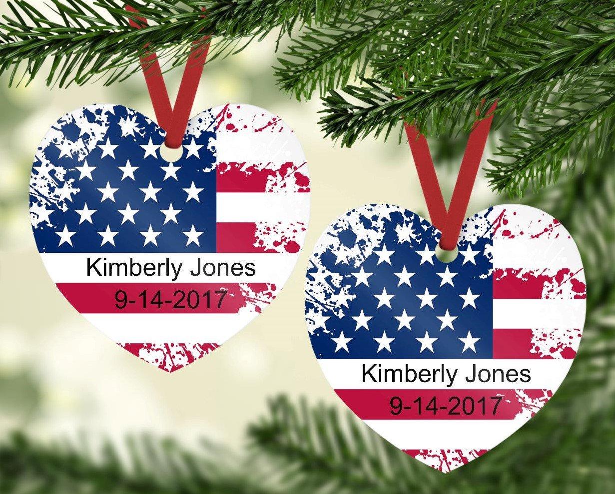 Amazon Com Americana Heart Shaped Christmas Ornament Personalized