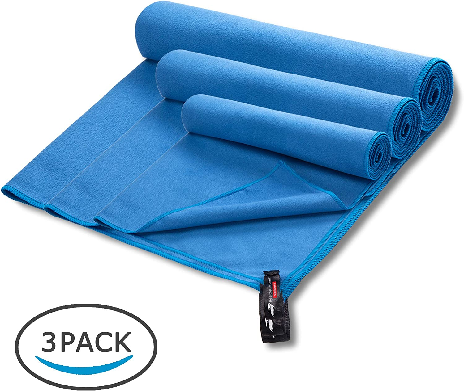 Perfect for Sport Golf Super Absorbent and Quick Drying Beach Workout Sweat Gym Swimming Healthy-Home Microfiber Travel Towel Set+Drawstring Bag Yoga Camping.
