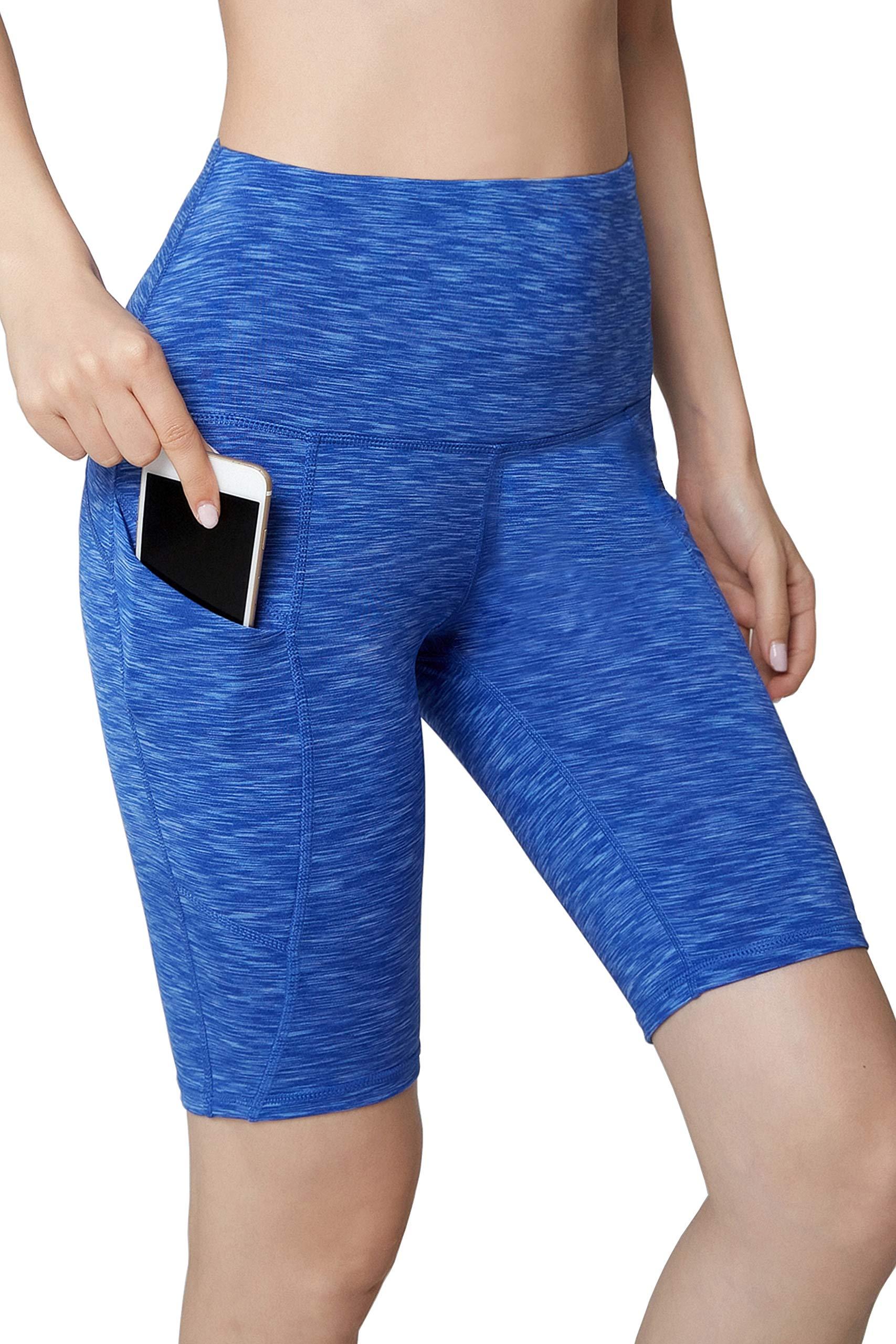 Oalka Women's Yoga Short Side Pockets High Waist Workout Running Shorts Space Dye Camo Blue L by Oalka