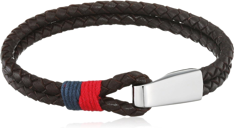 Tommy Hilfiger 270067 - pulsera para hombre, estilo casual, cuero y acero inoxidable, 22 cm