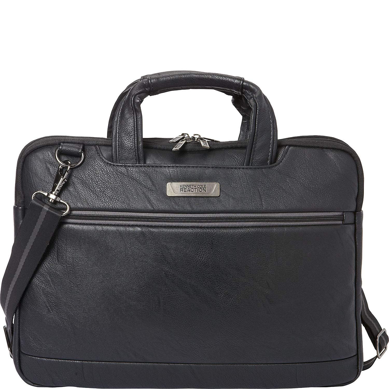 Kenneth Cole Reaction ProTec Faux Pebbled Leather Slim 16'' Laptop Business Briefcase / Tablet Bag, Black