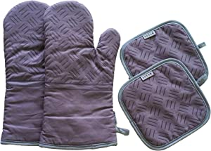5star Heat Resistant Oven Mitts and Pot Holders, Soft Cotton Lining with Non-Slip Silicone Surface Oven Gloves Hot Pads for BBQ Cooking Baking Grilling