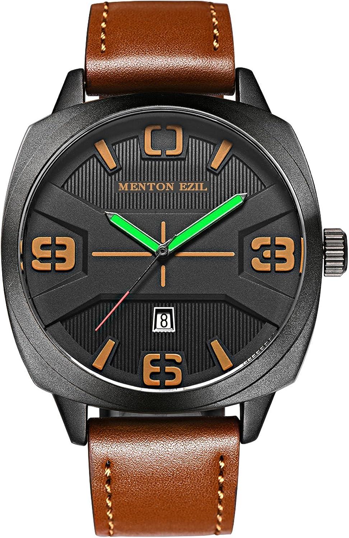 Menton Ezil Reloj de Cuarzo Analógico para Hombres con Correa de Cuero Color de Marrón