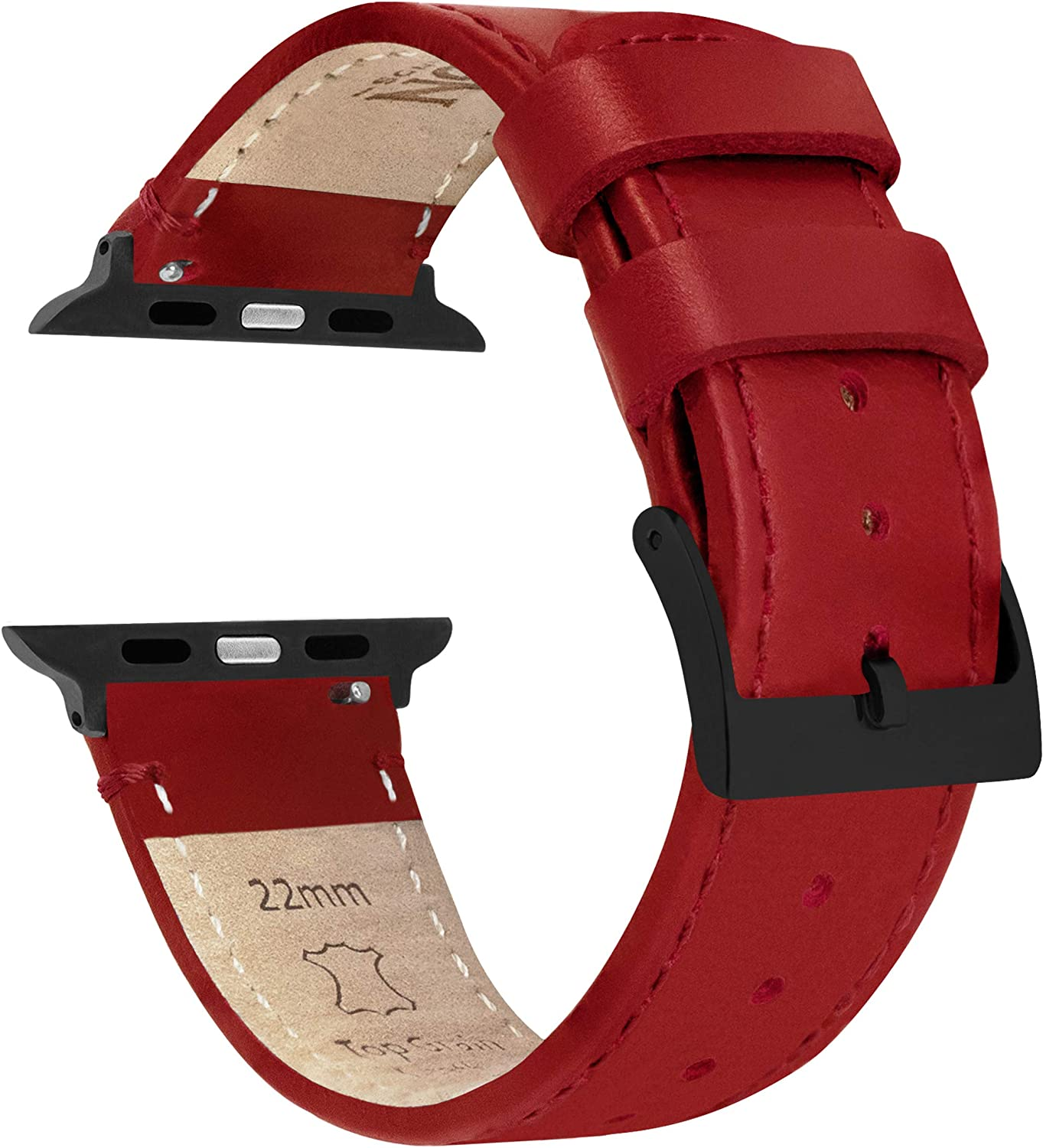 42mm/44mm Crimson Red - Barton Top Grain Leather Watch Bands Compatible with All Apple Watch Models - Black Hardware