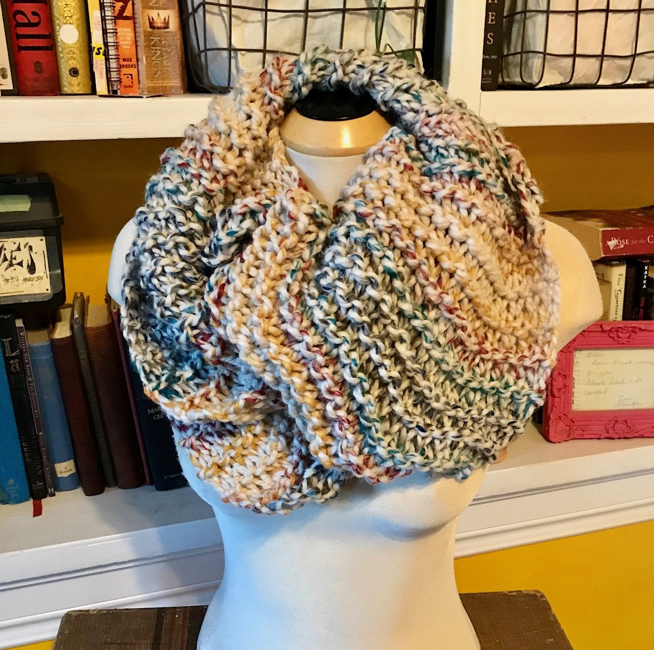 Hand Knit Modern Outlander Inspired Multicolored Claire Beauchamp Highland Cowl