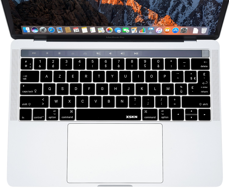 XSKN Franç ais AZERTY US EU en caoutchouc de silicone Keyboard Skin Housse pour barre de Multi Touch Apple MacBook 13 38,1 cm (A1706 & A1707), Noir 1cm (A1706& A1707) meidakai