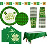 St Patrick's Day Party Supplies - SERVE 30 - Shamrocks Disposable Paper Plates Cups Napkins Tablecloth and Banner for Irish S