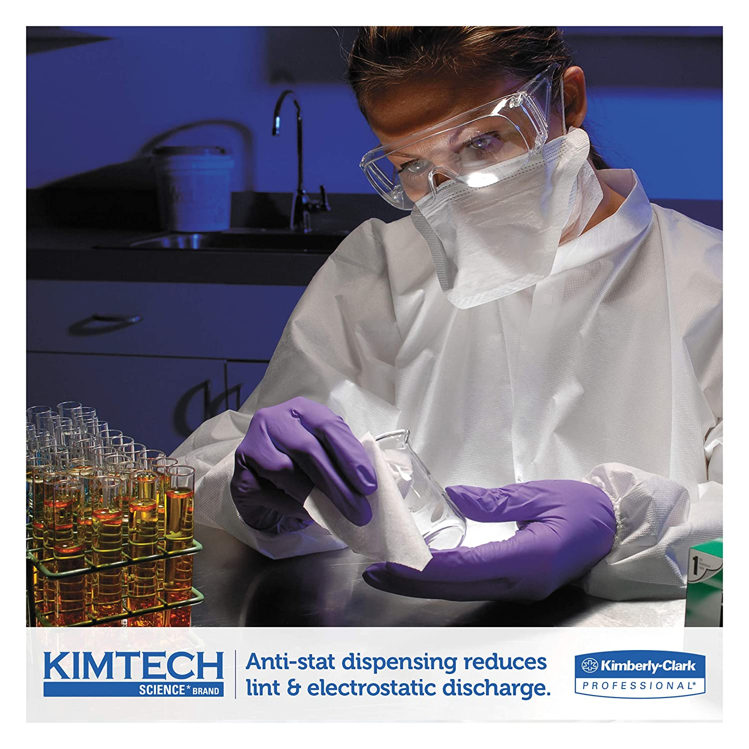 Kimtech 34155CT Kimwipes Delicate Task Wipers 1Ply 4 25 x 8 25 280 per Box Case of 60 Boxes