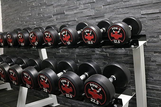 POWRX - Mancuernas con revestimiento de goma 40 kg set (2 x 20 kg ...