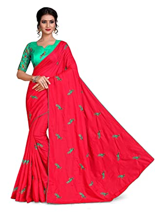 e921b852ef Red Two Tone Sana Silk Embroidered Saree With Contrast Color Blouse Piece:  Amazon.in: Clothing & Accessories