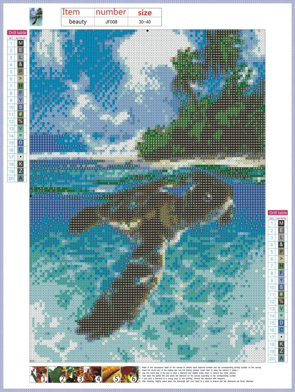 DIY 5D Diamond Painting Beach and Turtle,Canvas Wall Art Square,Adult Craft Kits 5D Diamond Art Rhinestone Embroidery Cross Stitch Art Crafts Supply Canvas Wall Ornament 12x16 inches