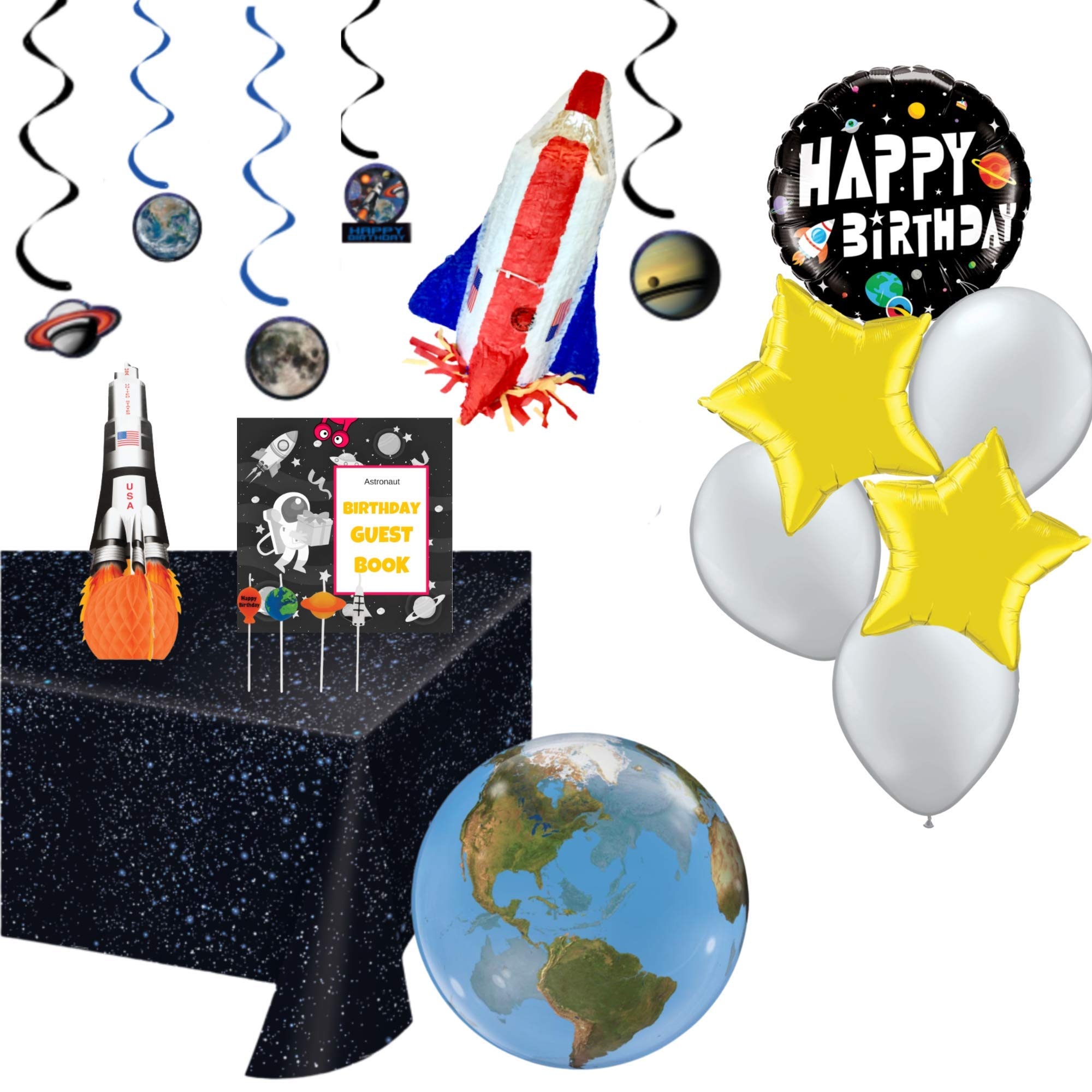 Space Party Supplies: pinata, tablecloth, candles, planet swirls, balloons, centerpiece, guest book