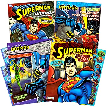 Justice League Batman And Superman Coloring Book Super Set With Stickers 4 Books