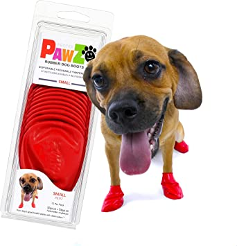 Pawz Dog Boots | Dog Paw Protection with Dog Rubber Booties | Dog Booties for Winter, Rain and Pavement Heat | Waterproof Dog Shoes for Clean Paws | Paw Friction for Dogs | Dog Shoes (Red) (S)
