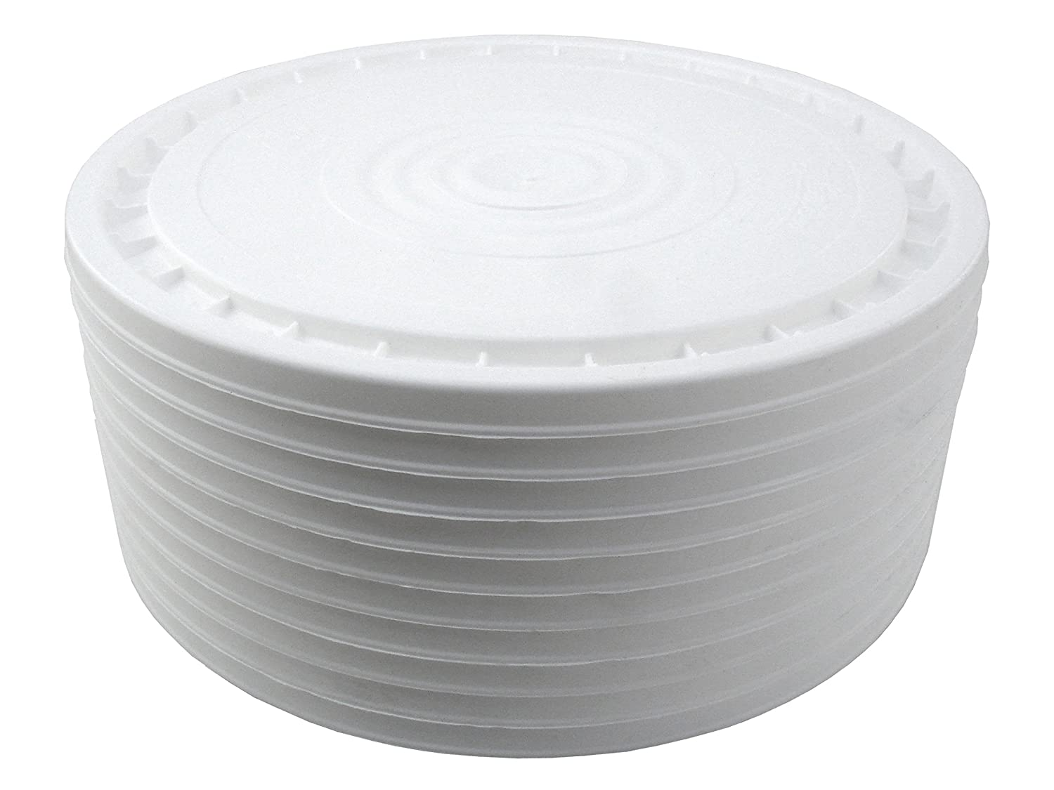 Poly Farm Flexible Easy Access Snap On Lids for 5 Gallon Buckets (Also fits Most 3.5, 6, and 7 Gallon Buckets) (White) (10)