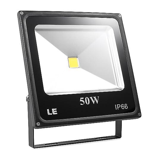 LE Foco proyector LED 50W para exteriores, equivalencia SAP 150W, 3750lm, blanco frío 6000K, resistente al agua IP66, luz amplia, luz de seguridad