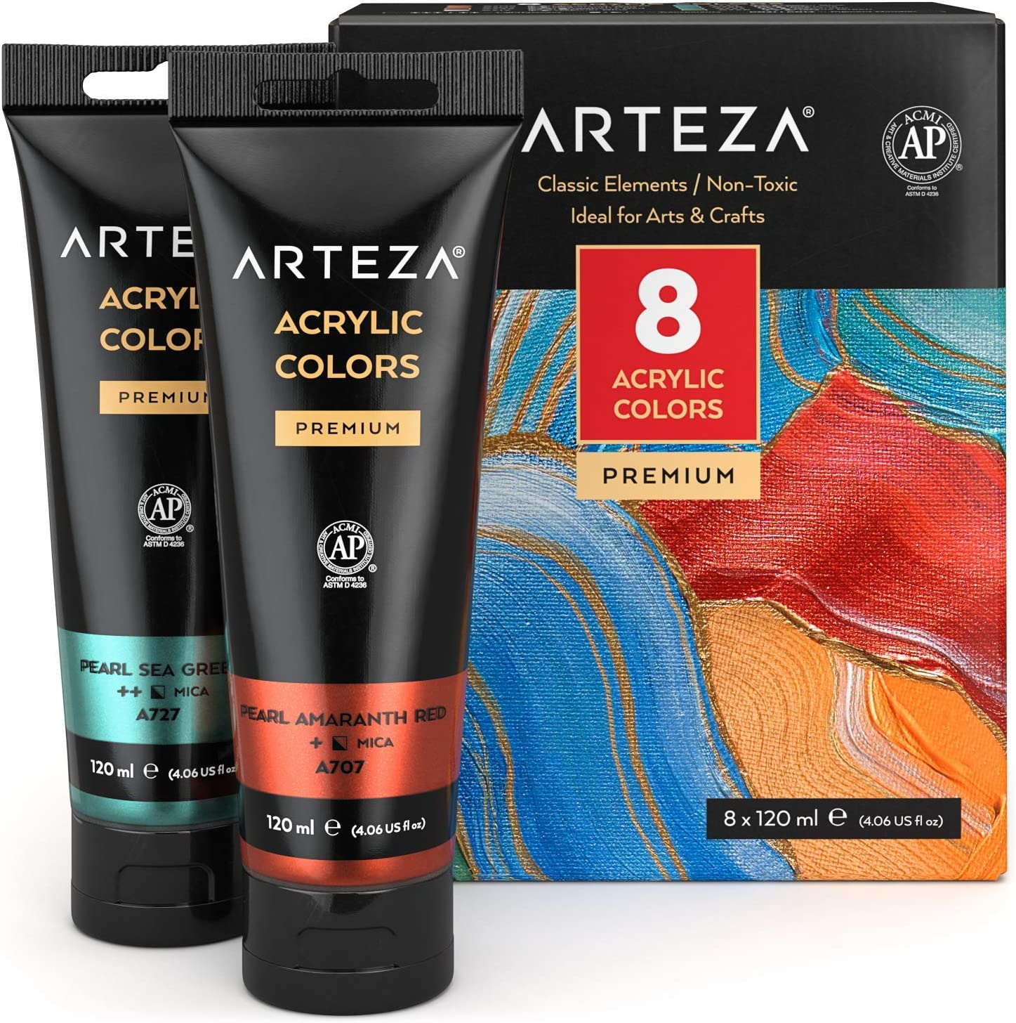 Arteza Metallic Acrylic Paint, Set of 8 Classic Elements Colors in 4.06oz Tubes, Rich Pigments, Non Fading, Non Toxic Paints for Artists, Hobby Painters & Kids, Ideal for Canvas Painting & Crafts