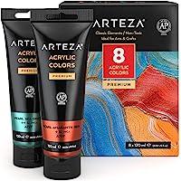 Arteza Metallic Acrylic Paint, Set of 8 Classic Elements Colors in 4.06oz Tubes, Rich Pigments, Non Fading, Non Toxic…