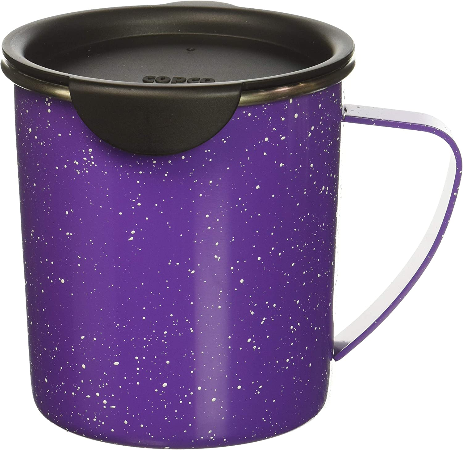 Copco Tin Cup Camping Style Stainless Steel Coffee Mug with Lid, 16-Ounce, Purple