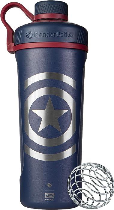 BlenderBottle C03874 Radian Insulated Stainless Steel Shaker Bottle, 26oz, Captain America Shield