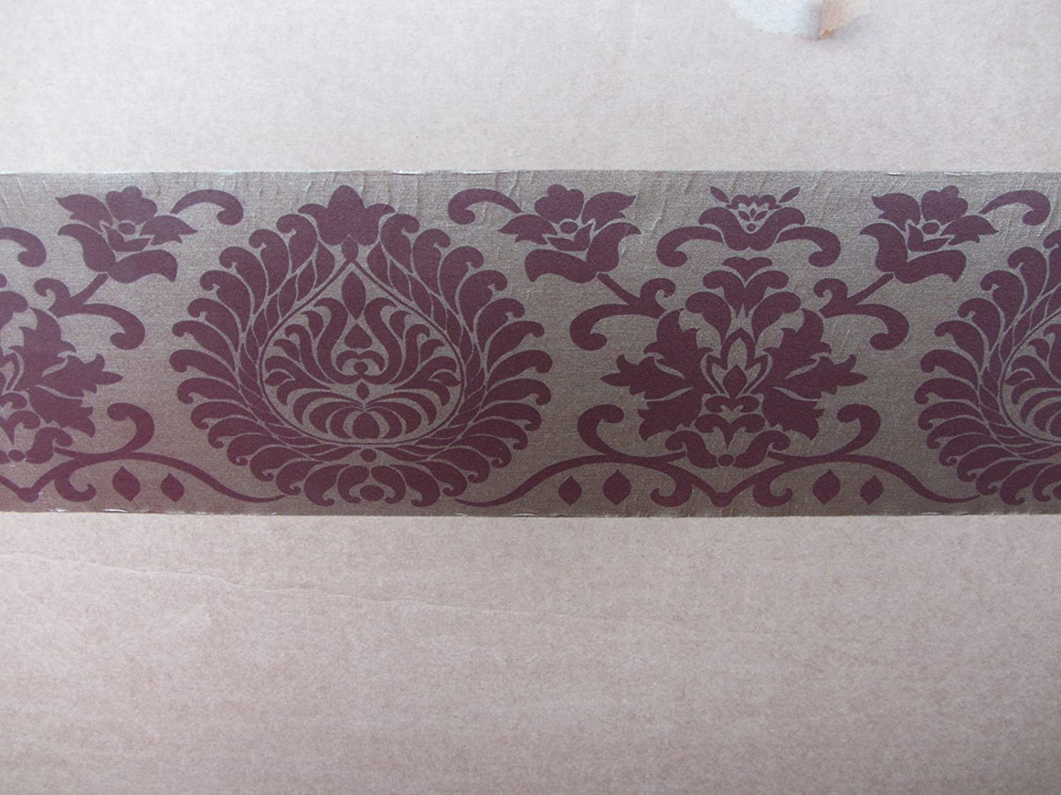 Damask Mocha Wallpaper Border Self Adhesive Bedroom Hallway Lounge 5x12 5 30510 Free Shipping Amazon Co Uk Kitchen Home