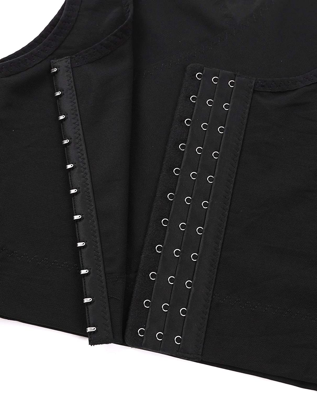Alvivi Mens Sleeveless Hooks Lesbian Chest Binder Vest Sports Tank Bra Crop Tops Corset Shapewear