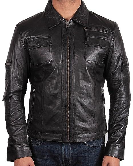 Brandslock Mens Genuine Leather Biker Jacket Slim Fit Vntage