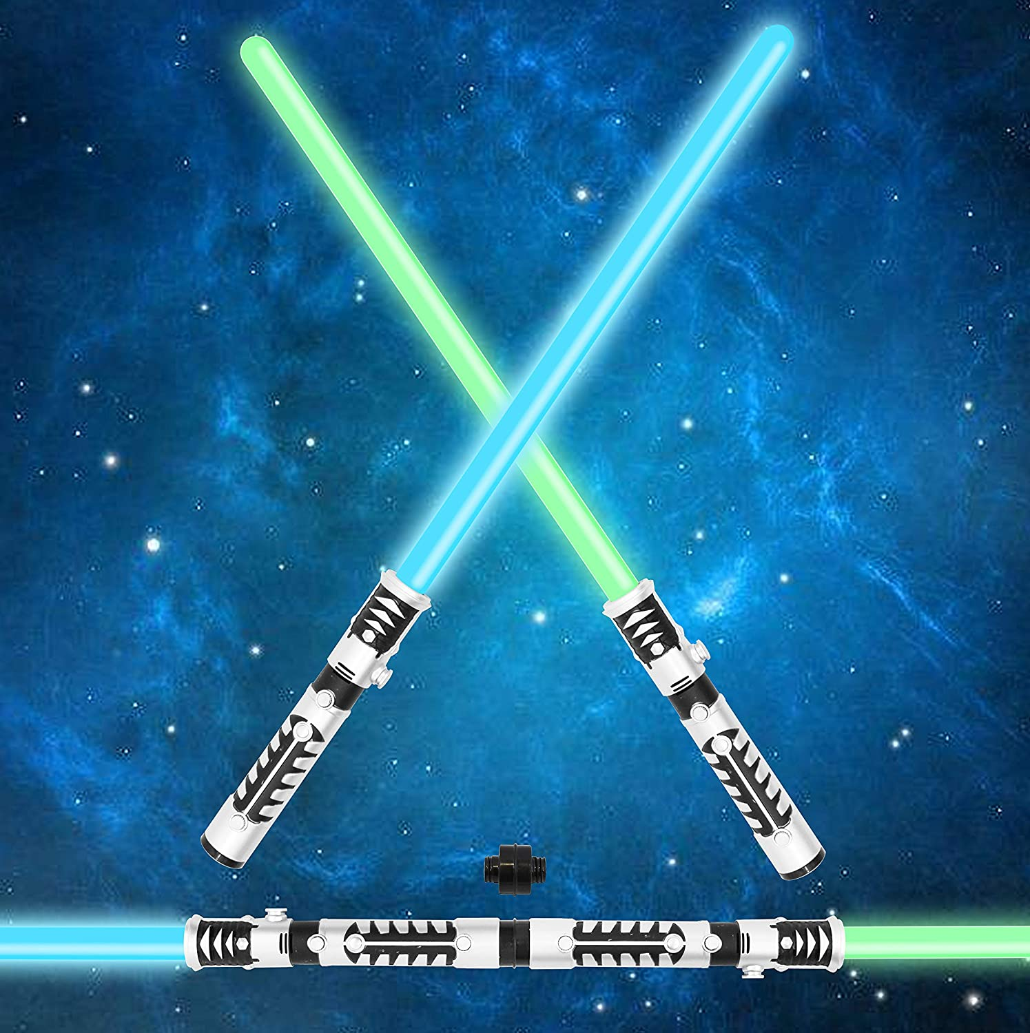 JOYIN Light Up Saber 2 in 1 LED FX Dual Laser Swords Set with Sound Motion Sensitive and Realistic Sliver Handle Stocking Idea Xmas Presents Galaxy War Fighters and Warriors