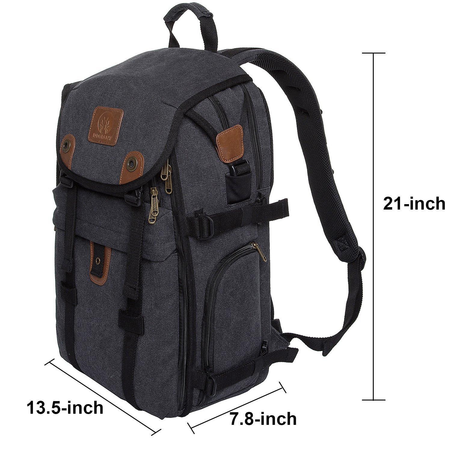 DSLR Camera Backpack, 21 inch Canvas Camera Bag with 15.6'' Laptop/Tablet Compartment and Rain Cover