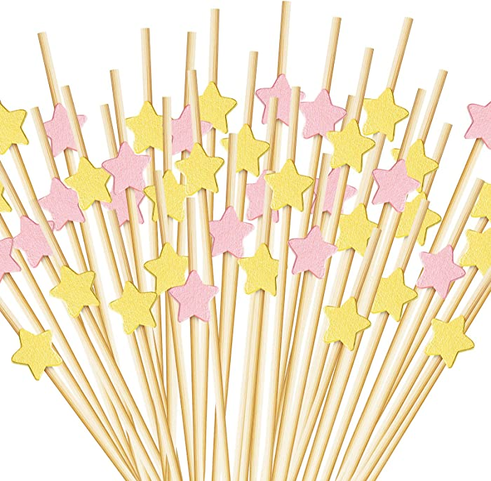200 Counts Star Cocktail Picks Wooden Toothpicks Cocktail Sticks Handmade Bamboo Appetizers Star Food Toothpicks for Food Drinks Wedding Birthday Party, Gold and Rose Gold Star (4.7 Inch)