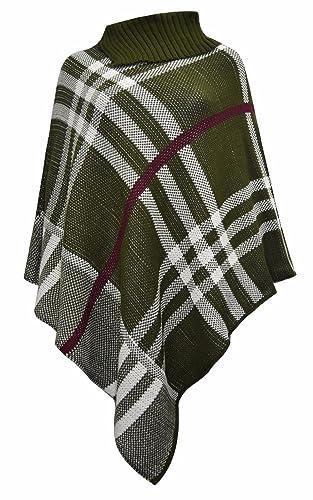 Janisramone – Poncho – para mujer Olive Green & White Check Print Talla única