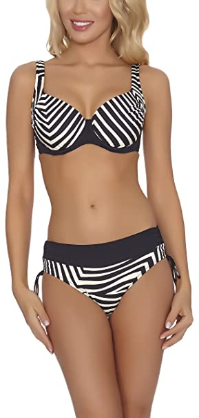 Feba Bikinis Conjunto Tops y Bragas Trajes de Baño 2 Piezas Bañadores Ropa Verano Mujer FR3D1 (Negro/Crema, EU Cup 75C/Bottom 38 (ES 90C/40))