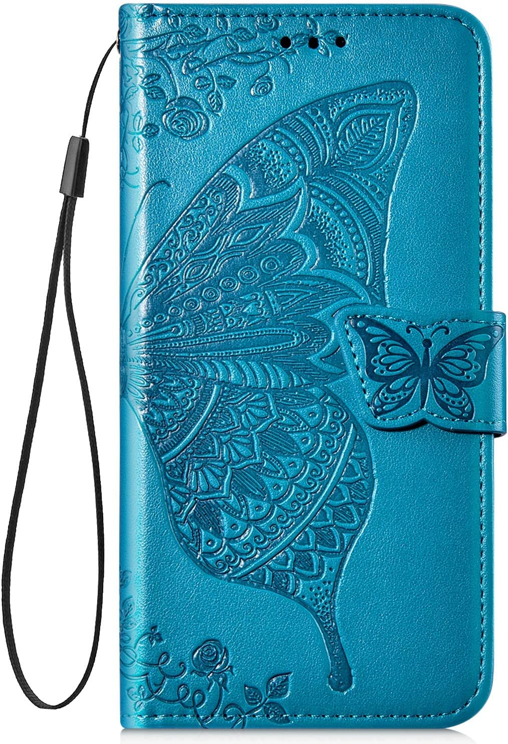 Herbests Compatible with Samsung Galaxy J4 2018 Wallet Case Slim Folio Leather Cover 3D Butterfly Flower Pattern Bookstyle Protective Cover Wrist Strap Kickstand Card Holder,Dark Purple