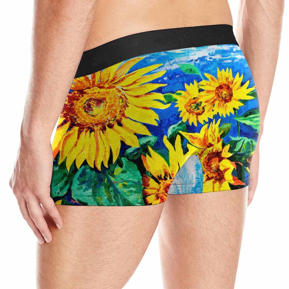 INTERESTPRINT Boxer Briefs Mens Underwear Yellow Sunflowers XS-3XL