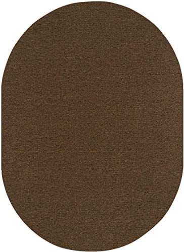 Ambiant Saturn Collection Pet Friendly Indoor Outdoor Area Rug Chocolate – 9 x12 Oval Non Slip Backing